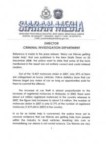 Kenyataan Akhbar dari Ketua Siasatan Jenayah Bukit Aman, muka surat 1